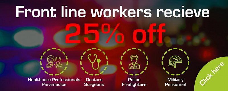 Front line workers receive 25% off - must present valid Blue Light Card on collection